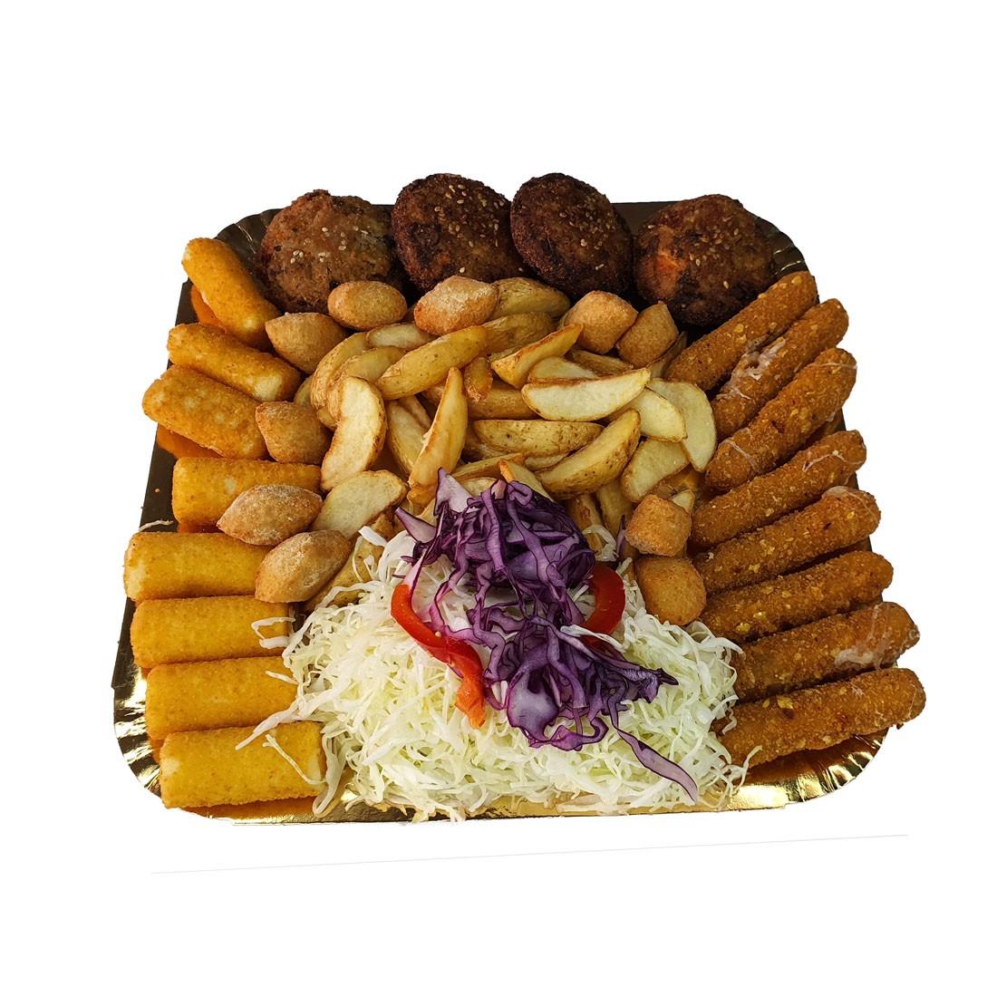 Platou 5 ovo-lacto-vegetarian – contine: gujoane de mozzarella, crochete de cartofi, chiftelute de legume, cartofi wedges, salata de varza alba si rosie, gogosari in otet